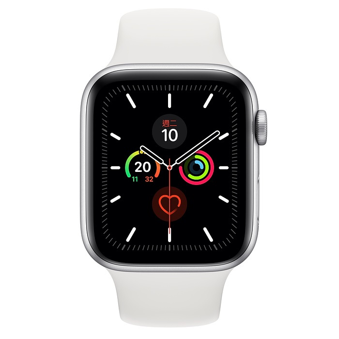 Apple Watch S5 GPS版 44mm銀鋁錶殼白色運動錶帶MWVD2TA